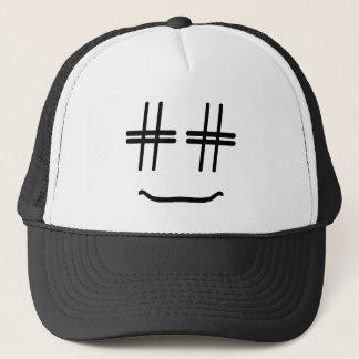# médias sociaux drôles de visage souriant de casquette