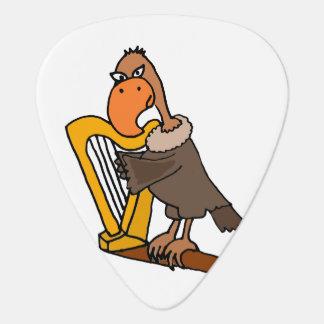 Médiators Buzzard drôle jouant l'harpe