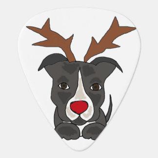 Médiators Chien gris drôle de Pitbull comme renne de Noël