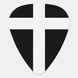 Médiators croix blanche moderne sur le noir