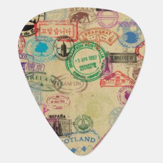 Médiators Le passeport vintage emboutit l'onglet de guitare