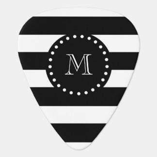 Médiators Motif noir et blanc de rayures, monogramme noir
