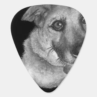 Médiators Portrait noir et blanc de chien peint à la main
