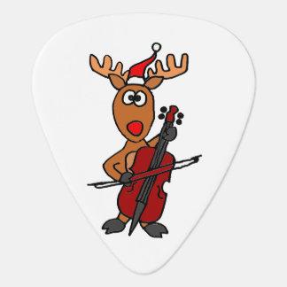 Médiators Renne drôle jouant Noël de violoncelle