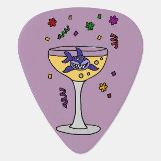 Médiators Requin drôle en verre de Champagne