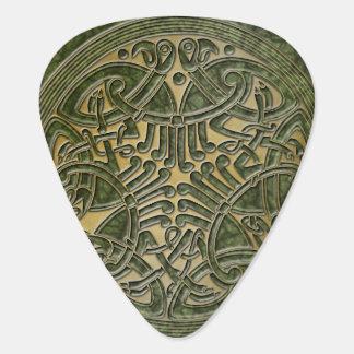Médiators Vert celtique de noeud et oiseaux d'or - PIC de