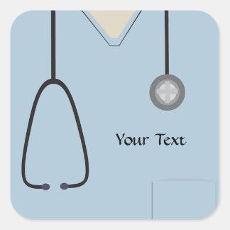 Médical frotte l'autocollant bleu-clair sticker carré