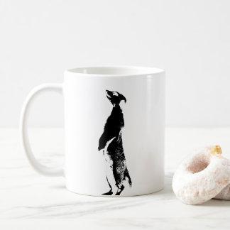 Meerkat noir et blanc - droit - tasse de café