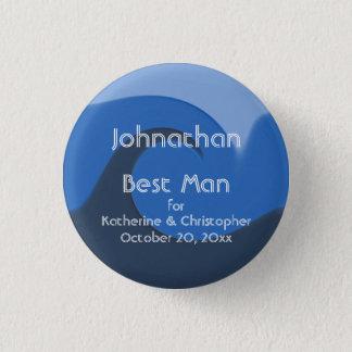 """Meilleur homme """"bleu de marée"""" - avec les noms et badge rond 2,50 cm"""
