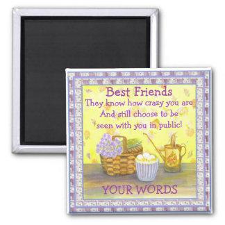 """Meilleurs amis sur les """"oeufs et les fleurs"""" #2 magnet carré"""