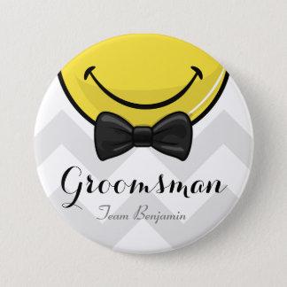 Meilleurs hommes de sourire épousant le bouton badge rond 7,6 cm