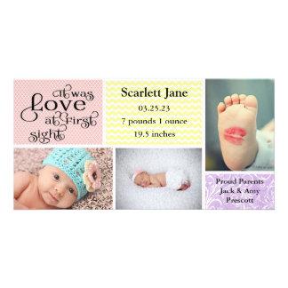 Meisje 3 de collage-Geboorte van de Foto de Kaart
