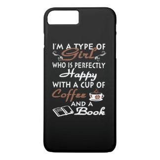 Meisje met een kop van koffie en een boek iPhone 8 plus / 7 plus hoesje