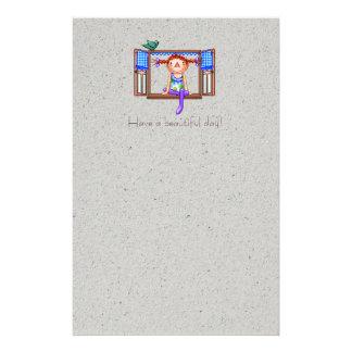 Meisje op een Art. van het Pixel van de Briefpapier