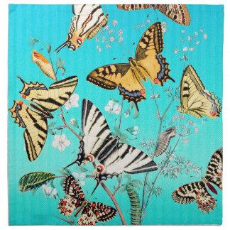 Mélange bleu de papillon serviettes de table