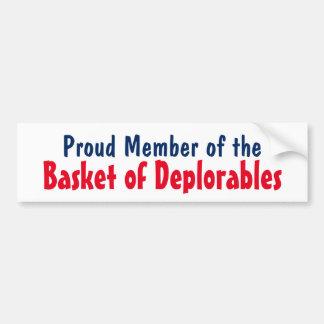 Membre fier d'atout du panier de Deplorables Autocollant De Voiture
