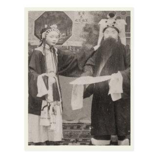 Membres de la distribution, opéra de Pékin, circa Cartes Postales