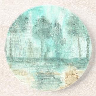 Mémoire, peinture d'arbres de paysage d'art dessous de verres