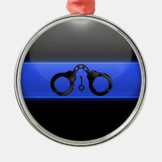 Menottes minces et clé de Blue Line Ornement Rond Argenté