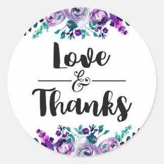 Menthe et amour de mariage et faveur floraux sticker rond