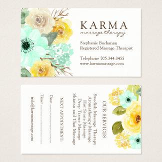 Menthe et cartes de visite floraux de jaune
