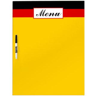 Menu allemand de mariage de drapeau tableaux blancs  effaçables à sec