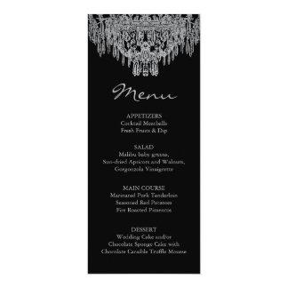 Menu argenté de mariage de lustre carton d'invitation  10,16 cm x 23,49 cm