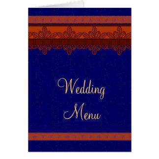 Menu bleu de mariage de brocard de damassé carte de correspondance