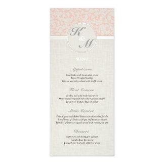 Menu de corail de mariage de SmartElegance Carton D'invitation 10,16 Cm X 23,49 Cm