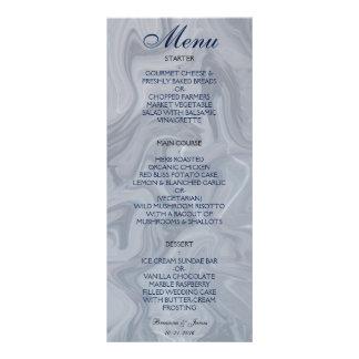 Menu de marbre gris de mariage d'aquarelle modèle de carte double