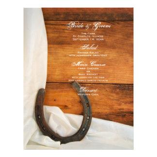Menu de mariage campagnard de fer à cheval et de prospectus 21,6 cm x 24,94 cm