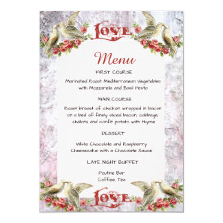 Menu de mariage de colombe de cru carton d'invitation  12,7 cm x 17,78 cm