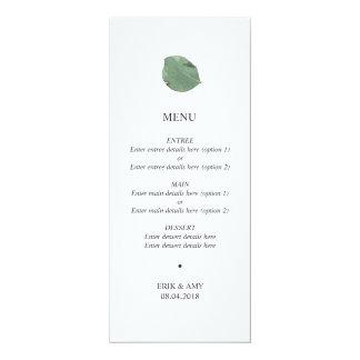 Menu de mariage de feuille d'aquarelle carton d'invitation  10,16 cm x 23,49 cm