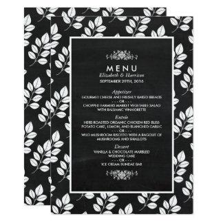 Menu de mariage de feuille florale de tableau carton d'invitation  11,43 cm x 15,87 cm