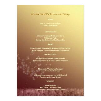 Menu de mariage de pissenlit de l'or n Brown de Carton D'invitation 13,97 Cm X 19,05 Cm