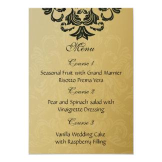menu de mariage d'or vert carton d'invitation  12,7 cm x 17,78 cm