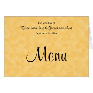 Menu de mariage en jaune et noir carte de correspondance