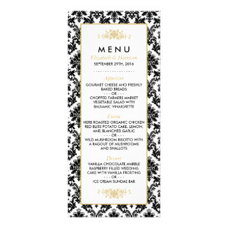 Menu d'or, noir et blanc vintage de mariage double carte