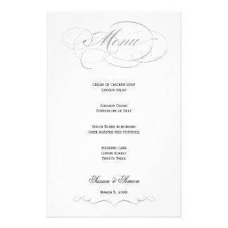 Menu élégant de mariage de manuscrit - gris papier à lettre customisé