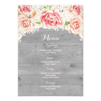 Menu en bois gris floral de mariage d'aquarelle carton d'invitation  12,7 cm x 17,78 cm