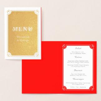 Menu fait sur commande élégant de dîner de mariage