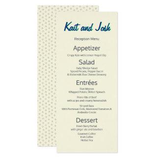 Menu fait sur commande minimaliste blanc en ivoire carton d'invitation  10,16 cm x 23,49 cm