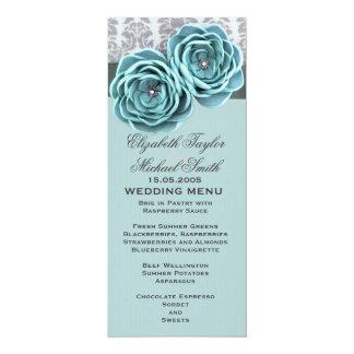 Menu floral de luxe de mariage de ceinture de carton d'invitation  10,16 cm x 23,49 cm