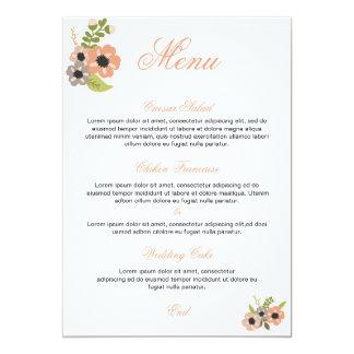 Menu floral de mariage carton d'invitation  12,7 cm x 17,78 cm