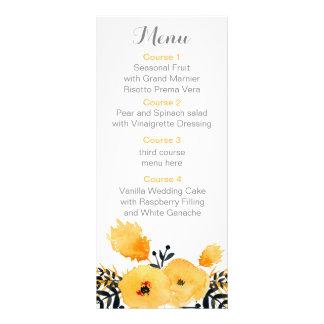 menu floral de mariage d'aquarelle grise jaune