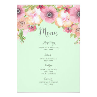 Menu floral de mariage d'aquarelle rose verte en carton d'invitation  12,7 cm x 17,78 cm