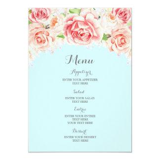 Menu floral de mariage de bleu de ciel d'aquarelle carton d'invitation  12,7 cm x 17,78 cm