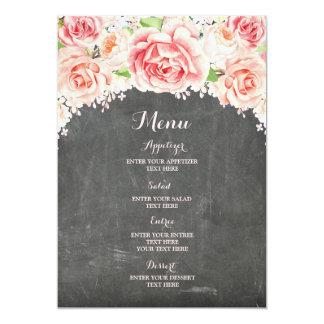 Menu floral de mariage de tableau d'aquarelle rose carton d'invitation  12,7 cm x 17,78 cm