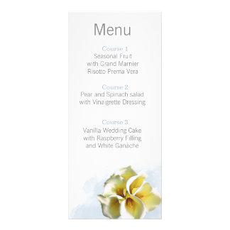 menu floral de mariage de zantedeschias