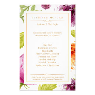 Menu floral de service de boutique de jardin de prospectus 14 cm x 21,6 cm